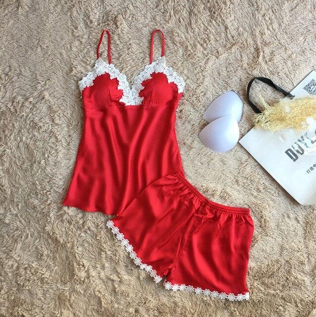 Lace Sexy Women Pajama Sets Spaghetti Strap With Pad Deep V Women Pijama