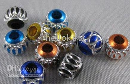 3000pcs Mixed colour carved lantern Aluminium beads 7mm M691