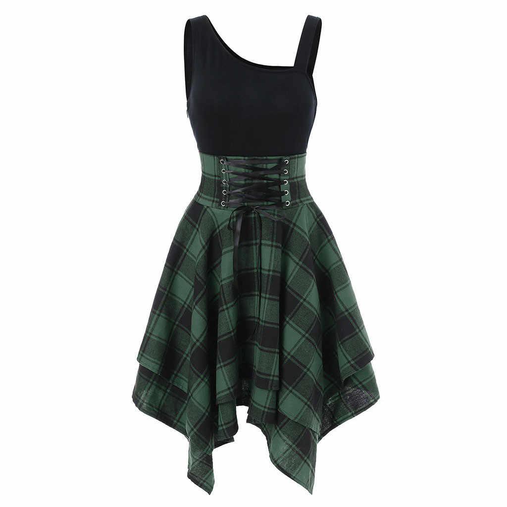 Модные женские нестандартные платья без рукавов с перекрестной шнуровкой и клетчатым принтом De Fiesta De Noche повседневные Zomerjurk 2019