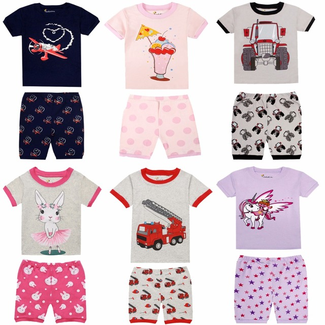2d1836af9 Summer 100% Cotton Children Short Sleeve Pajamas Sets Boys Summer ...