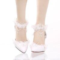 Beyaz dantel Kelebek Kristal Kolye ucu ince topuk süper topuk ayakkabı tek kelime tipi bileklik kadın sandalet