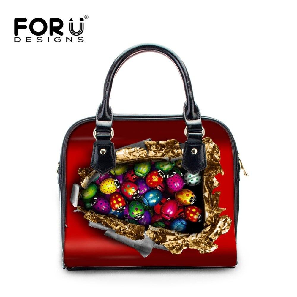 FORUDESIGNS Fashion PU Leather Women Shoulder Bags Candy 3D Printed Flap Girls Crossbody Bag High Quality Small Satchel Handbags