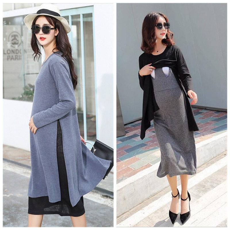 S-XXL 2018 Autumn and Winter Fake 2pcs Maternity Nursing Clothes Pregnant Women Dress Knitted Long-sleeved Breastfeeding Dress ilismaba new ladies fashion sexy autumn long sleeved brand dresses high quality printed knitted elastic fabric women s dress