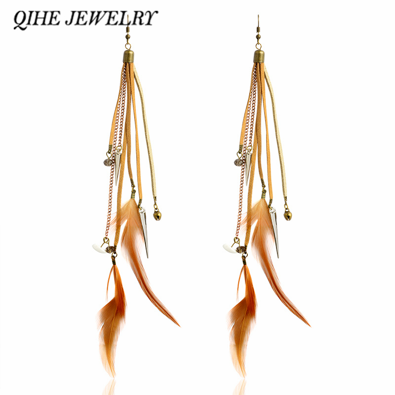 QIHE JEWELRY Tassel earrings Brown natural color feather multi tassel leather chain Long earrings Jewelry for women Boho chic