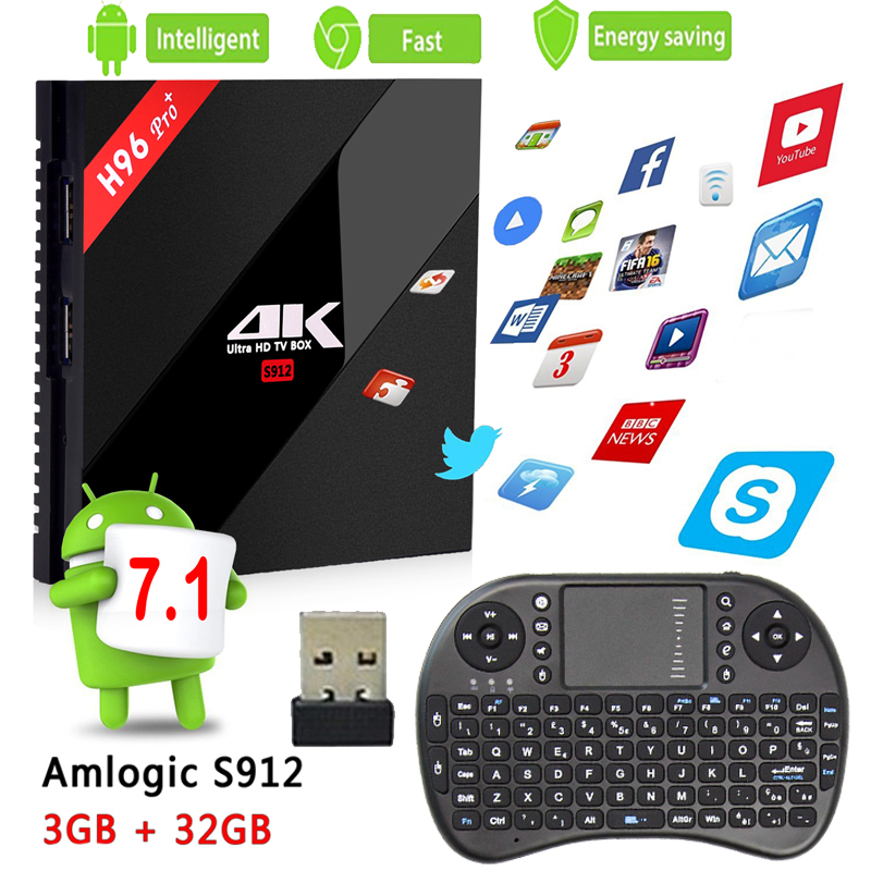 Europe iptv subscription H96pro+ Smart Android TV Box Android 7.1 Amlogic S912 Octa Core UHD 4K 3GB/32GB Mini PC 2.4G & 5G WiFi 10pcs vontar x92 3gb 32gb android 7 1 smart tv box amlogic s912 octa core cpu 2 4g 5g 4k h 265 set top box smart tv box
