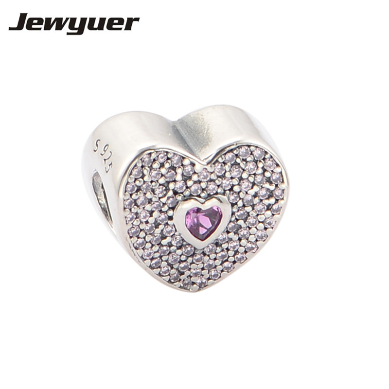 Pink Hearts charms 925 Sterling Silver jewelry love charm Fit beads Bracelets necklaces DIY gift to lover fine Jewelry BE210Pink Hearts charms 925 Sterling Silver jewelry love charm Fit beads Bracelets necklaces DIY gift to lover fine Jewelry BE210