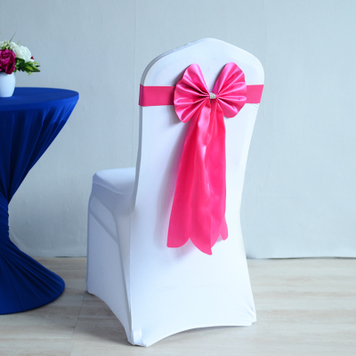 Fuchsia Colour Chair Sash Long Tail Wedding Butterfly Bow Tie Lycra Band Stretch Bow Tie Ribbon For Weddings Wholesale