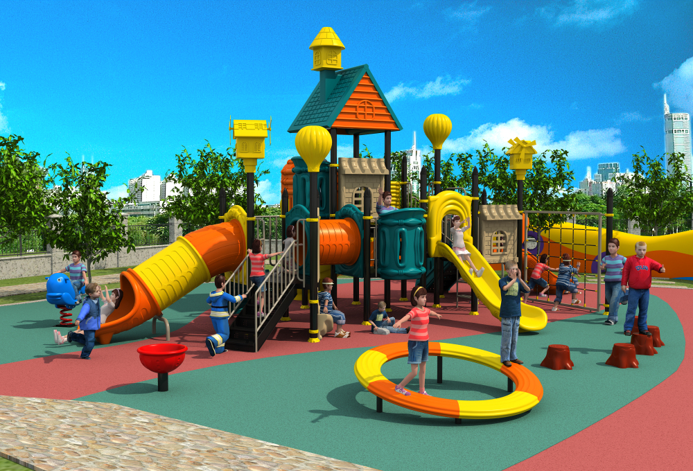 Exporté enfants en plein air en plastique aire de jeux parc enfants chambre paradis installation villa toit jouer équipement YLW-OUT171068