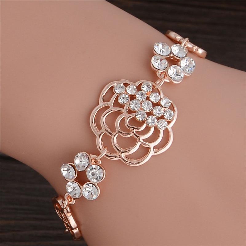 Rose Flower Linked Bracelets for women Fashion Bangle Simple ...