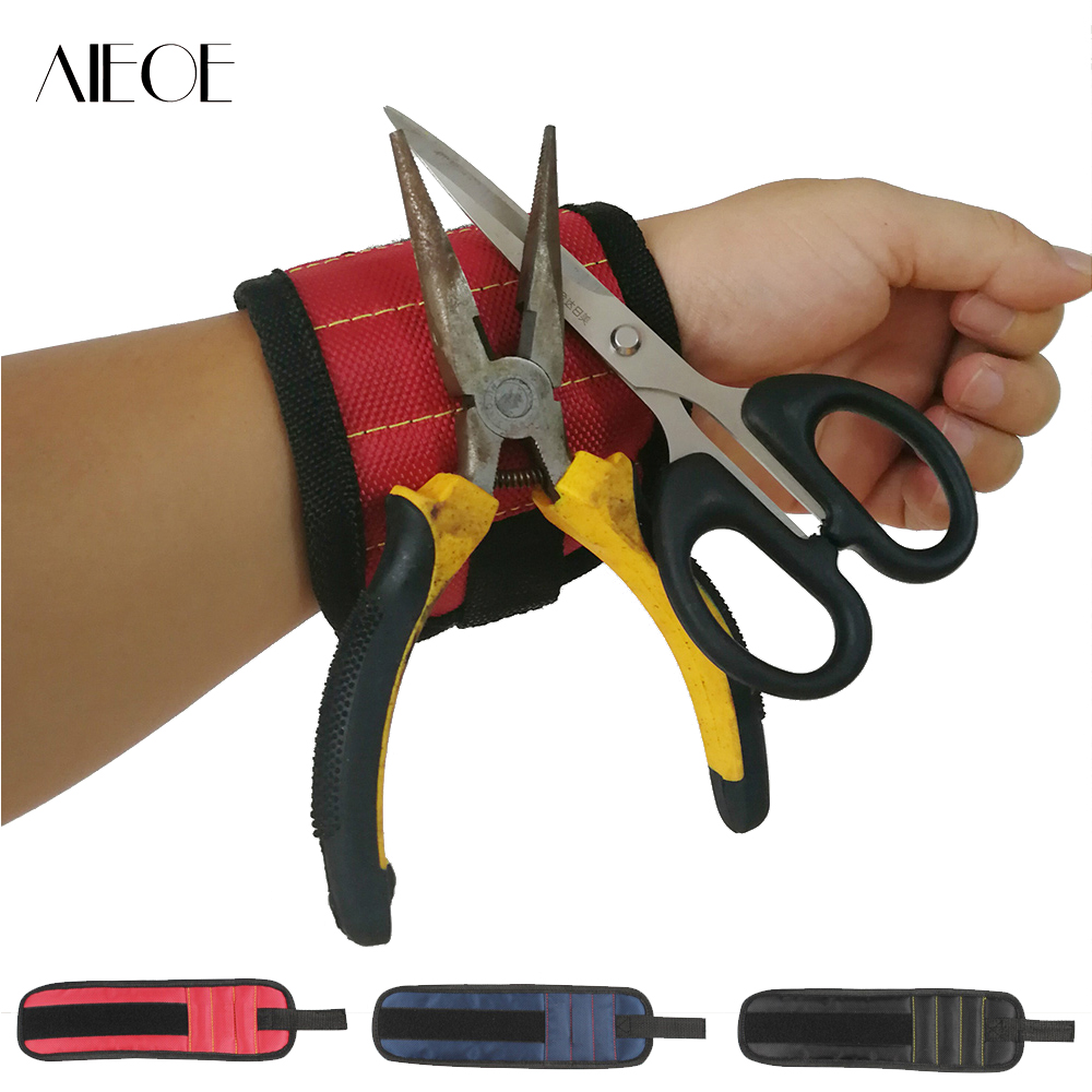 Polyester Magnetic Wristband Portable Tool Bag Electrician Wrist Tool Belt Screws Nails Drill Bits Holder Hanging Repair Tools