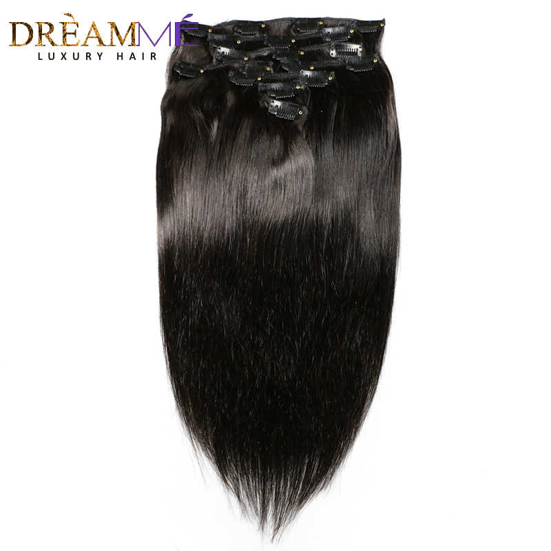 DreamMe Hair Brazilian Remy Straight Hair Clip In Human Hair Extensions Natural Color 8 Pieces/Set Full Head Sets 120G