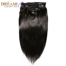 Dreaming Queen Hair Brazilian Straight Hair Clips In Human Hair Extensions 120g 8pcs/Set 1 Bundles 18 Clips Ins Remy Hair(China)