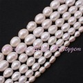 """Freshwater Pearl Natural White Oval Gem Stone Beads Strand 15"""" 8-9/9-10mm For DIY Necklace Bracelet Jewelry Making,Free Shipping"""