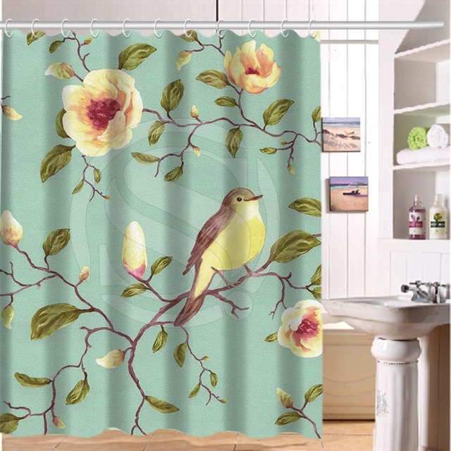 Superior Floral Fabric Shower Curtains #4 - Birds And Blooms Floral Fabric Moden Classical Custom Shower Curtain  Bathroom Waterproof Eco-Friendly 60x72inch