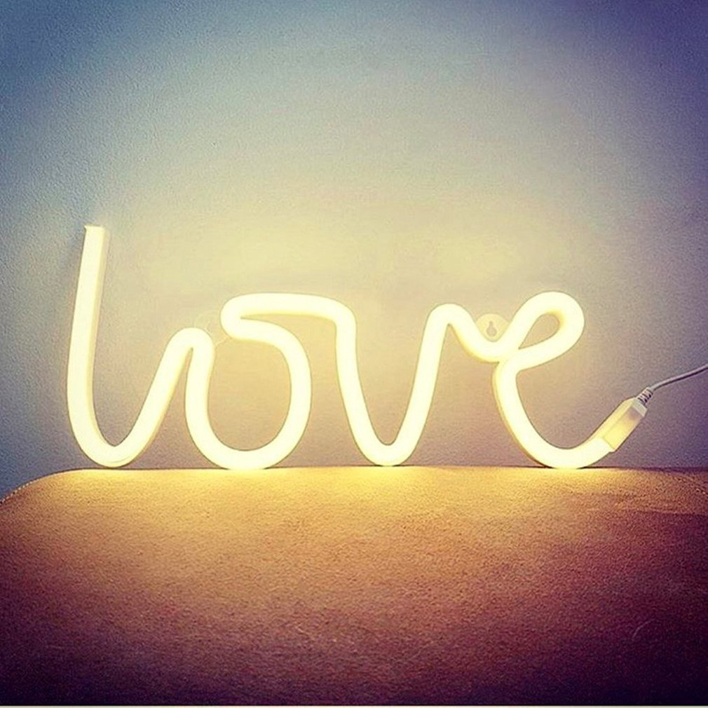 LOVE Letters Shape LED Neon Night Light Wall Hanging for Festival ...