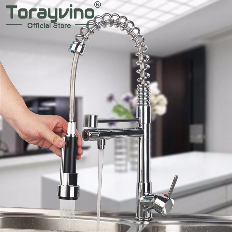 Mdoern Chrome Polish Pull Out Kitchen Faucet torneira Deck Mount Dual Water Way Sprayer Kitchen Sink
