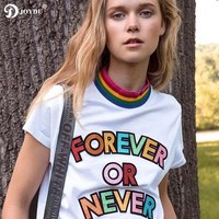 2018 New Cotton Funny T Shirt Harajuku Rainbow Striped Neck Letter Runway Summer T Shirts For