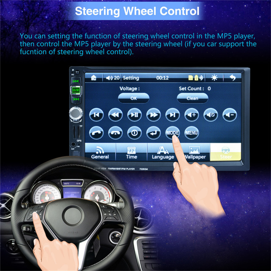 2 Din Car Multimedia Player HD Bluetooth Stereo Radio FM MP4 MP5 Audio Video Gps with maps of North America in Car Multimedia Player from Automobiles Motorcycles