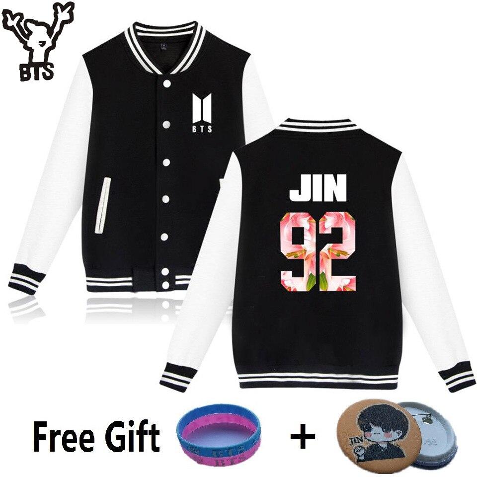 BTS Kpop Baseball jacket winter hoodies men popular Bangtan Hip hop harajuku hoodies women Casual Fashion