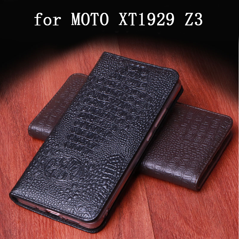 Genuine Leather Case for MOTO XT1929 Fashion Crocodile Print Flip Phone Cases for MOTO Z3 Fundas Skin Luxury Handmade Custom Bag