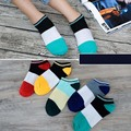 ankle socks patchwork color casual Polyester cotton elastic short ship stockings slippers for summer spring men male boy