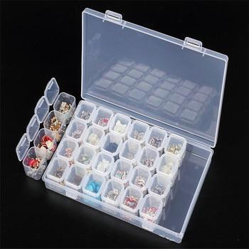 28 Slots Diamond Painting kits Plastic Storage Box Nail Art Rhinestone Tools Beads Storage Box Case Organizer Holder kit 1