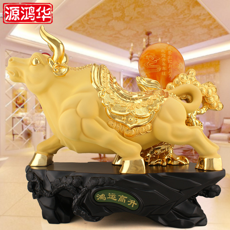 1pcs home decoration accessories merchants wholesale direct resin crafts ornaments business gifts soaring cattle fortune cow