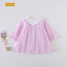 цены на Baby girl dress spring and autumn new cotton plaid mesh girl princess dress kids dresses for girls Baby clothes Long sleeve  в интернет-магазинах
