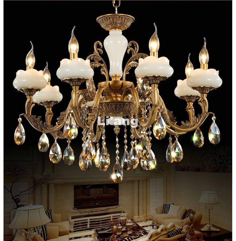 European Style Brass Antique Crystal Chandelier Lingting Bronze Luxurious Jade Brass E14 Crystal Lamp Lustre Suspension Lighting
