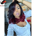 Ombre #1B/Burgundy Color Wavy Bob Wigs 6A Virgin Brazilian Hair Glueless Full Lace Wigs Bob Wigs Lace Front Human Hair Wigs