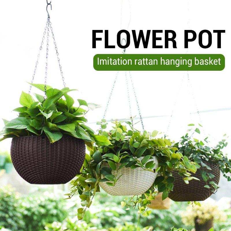 Decoration Balcony Chains Flowerpot Hanging Basket Rattan Pattern Flower Pots