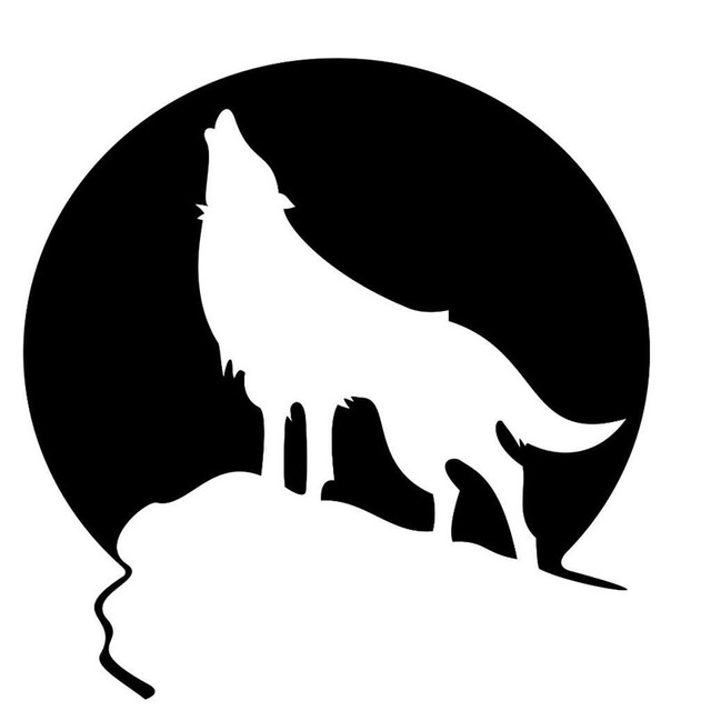 Aliexpress Com Buy 15 15 3cm Howling Wolf And Moon Wild
