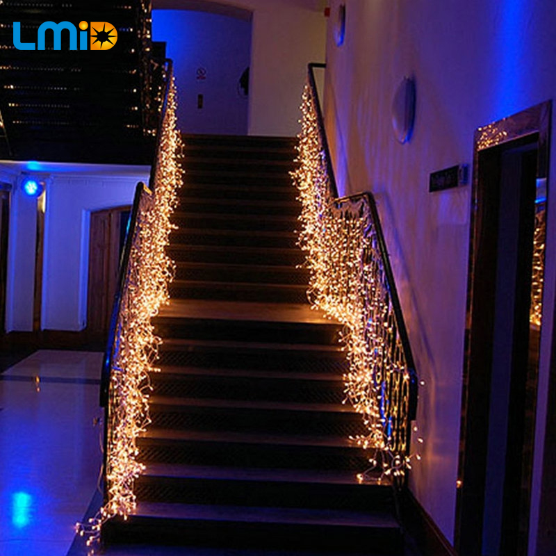 LMID EU US Plug Christmas Lights 2M * 0.6M 60LEDs Lights Flashing Lane LED String Curtain Light Xmas Home Garden Festival Lights