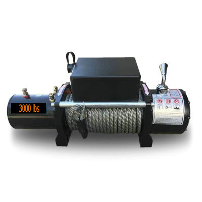 3000lbs12V-24V Portable Copper Core Motor Winch Power Recovery Winch Cable Puller Winch Kit ATV Winch Trailer Truck Truck