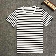 CPI Harajuku полосатая футболка Мужская Повседневная футболка с коротким рукавом летняя футболка в стиле хип-хоп Уличная Повседневная футболка черный белый