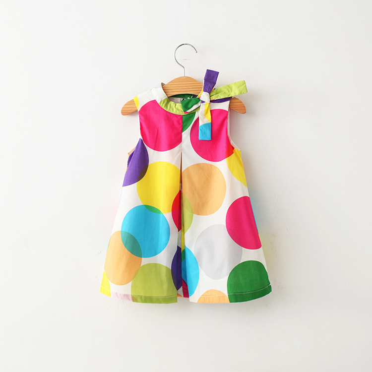 2016 The Spring  Summer. New Pattern Girl Colour Wave Point Bow Vest Dress The Influx Of Children Sleeveless A Doll the wave