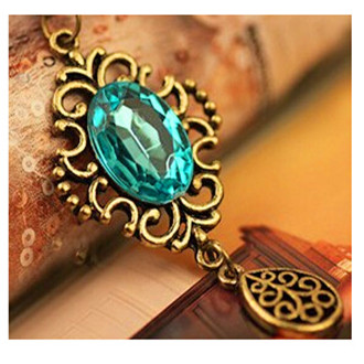 2016 New Fashion Women Necklace - Beautiful Blue Crystal Necklace Pendant Bronze Color Jewelry For women Gift