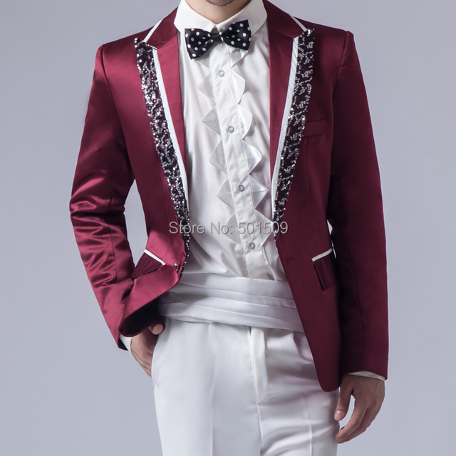 Free shipping mens sequins binding tuxedo jacket/stage performance/event jacket/only jacket