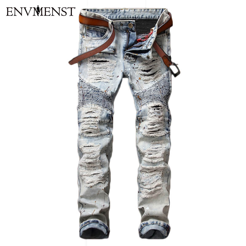2017 New Brand Men Jeans Pant Ripped Hole Biker Patch Man Jeans Trouser Retro Men's Pants Slim Straight Punk Street Jeans Male men s cowboy jeans fashion blue jeans pant men plus sizes regular slim fit denim jean pants male high quality brand jeans