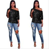 2019 summer new sequins loose casual fashion short sleeved T shirt women's S 2XL