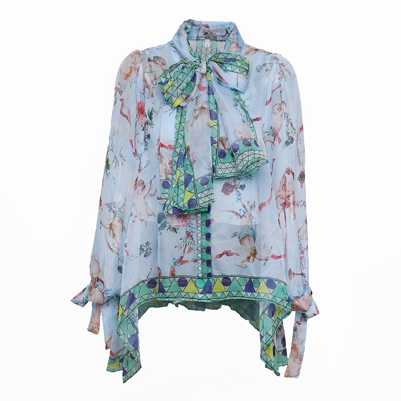 Top Fashion Brand New Summer Women Beach Bohemian Loose Blouse Character Print Bow Collar Lantern Sleeve Chiffon Shirt Tops