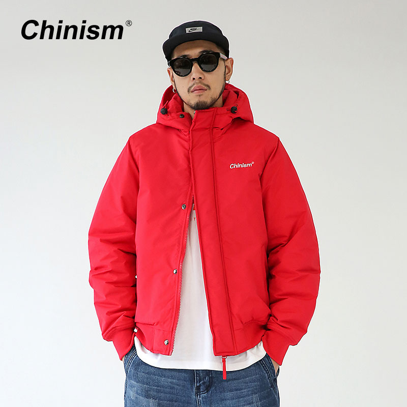 CHINISM Basic All-match Mens Winter Hoodie Jackets 4 Color Pure Color Thick Warm Men