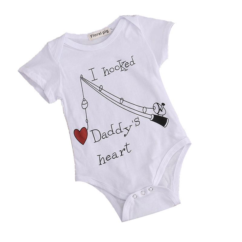 2019 New Infant Baby Boy Clothes Girl Babygrows Playsuit   Romper   I Hooked Daddys Heart Newborn Baby Clothes Unisex Baby   Rompers