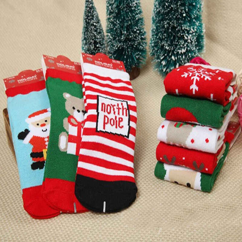 Newborn Baby Boys Girls Cotton Soft Christmas Socks Infant Toddler Kids Christmas Santa Claus Deer Bear Snowflake Striped Socks