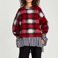 Thick Velvet Blusas Winter Fur Long Sleeved Women S Red Plaid Shirt O Neck Blouses Feminina