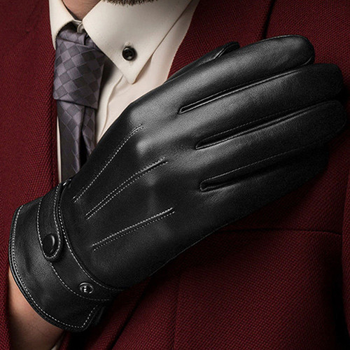 Warm and Comfortable Men Touch Screen Gloves made of Faux Leather with Conductive Fiber Suitable for Bike Riding and Cycling 9