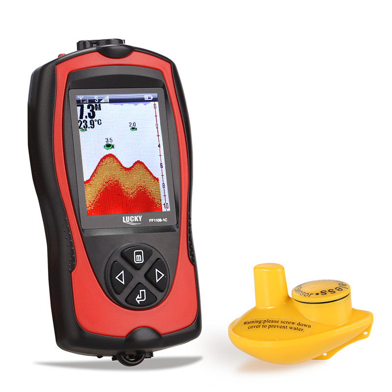 Lucky Fish Finder echo sounder Wireless Sonar Fishfinder English Russian Menu 147ft 45m عمق آب Sonar FF1108-1CW