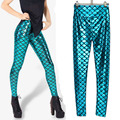 Gold scales blue-chip high-waisted leather leggings fish scale pants