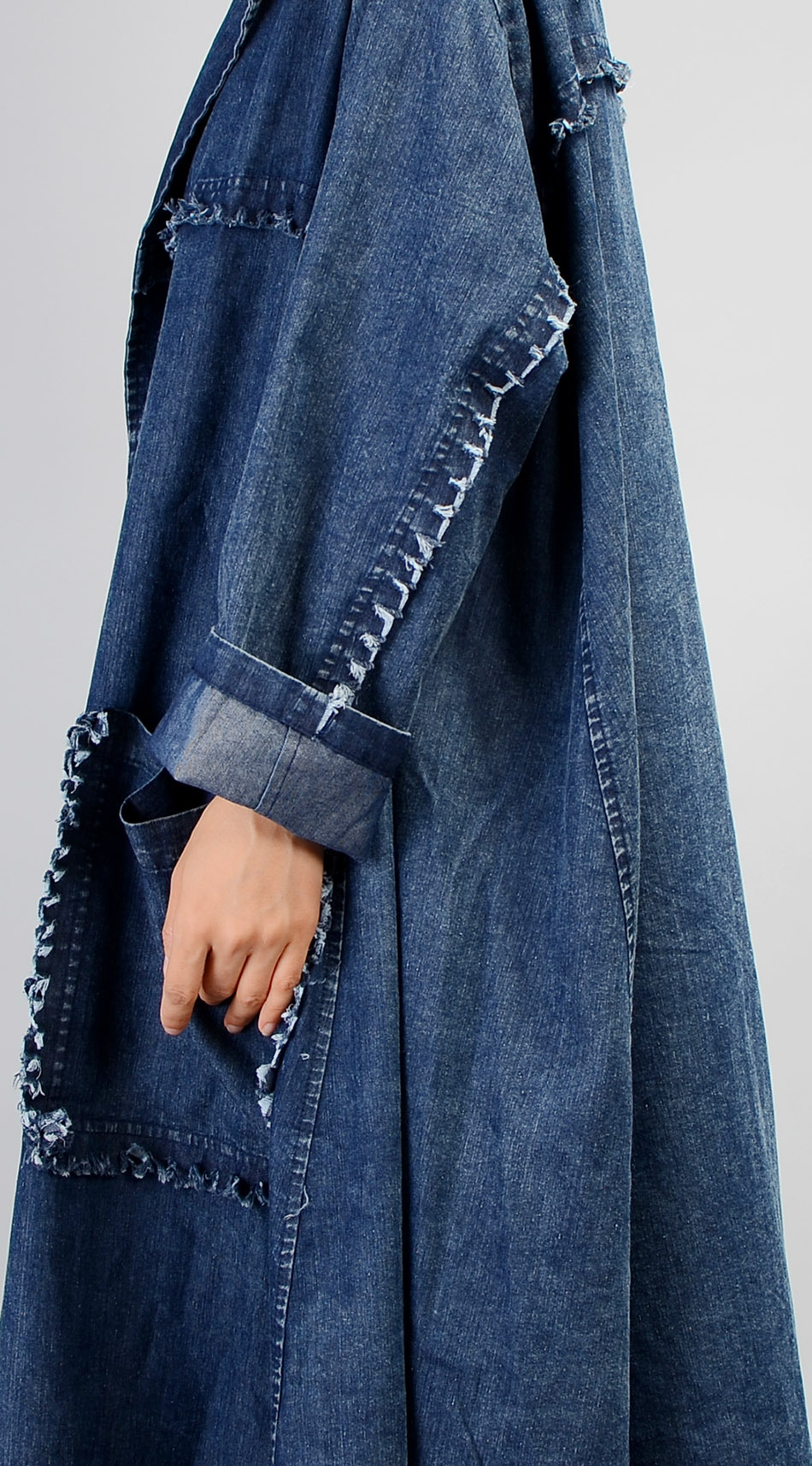 Black De D'origine Irrégulière Denime 2018 Lâche Style Femmes raccord Élégant Plus Manteau Et blue La Européen Américain Slim Tranchée Solid Taille STFHxqwPF