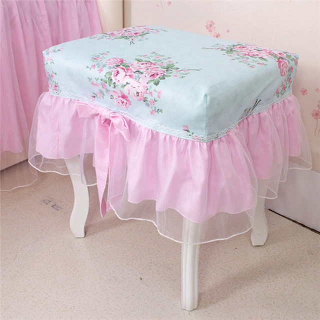 Dobby Print Chair Cover 100% Cotton Twill Fabric Lace Yarn Make Up Bench  Covers Elegant